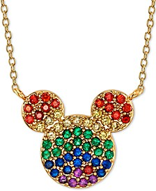 "Rainbow Crystal Mickey Mouse Pendant Necklace in Gold-Plate, 16"" + 2"" extender"