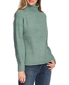 Vince Camuto Mixed-Stitch Mock-Neck Sweater