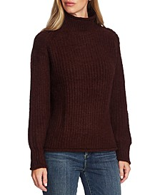 Mixed-Stitch Mock-Neck Sweater