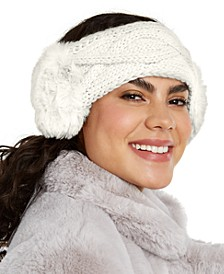 INC Cable-Knit Headwrap With Faux Fur, Created for Macy's