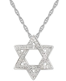 "Cubic Zirconia Star of David 18"" Pendant Necklace in Sterling Silver"