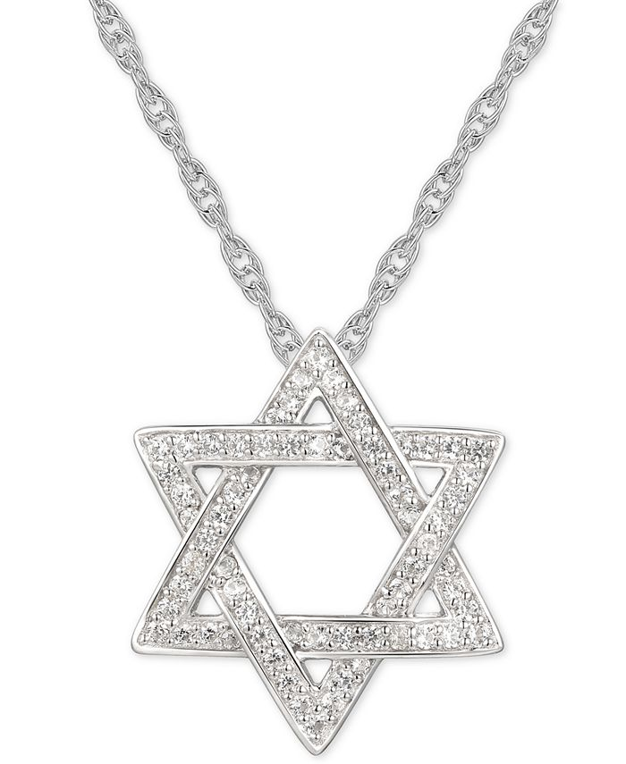 """Macy's - Cubic Zirconia Star of David 18"""" Pendant Necklace in Sterling Silver"""