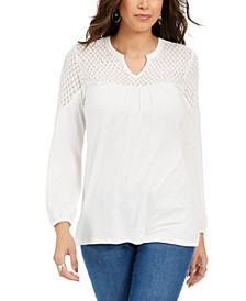 Petite Lace-Shoulder Top, Created For Macy's