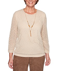 Walnut Grove Pointelle Necklace Sweater