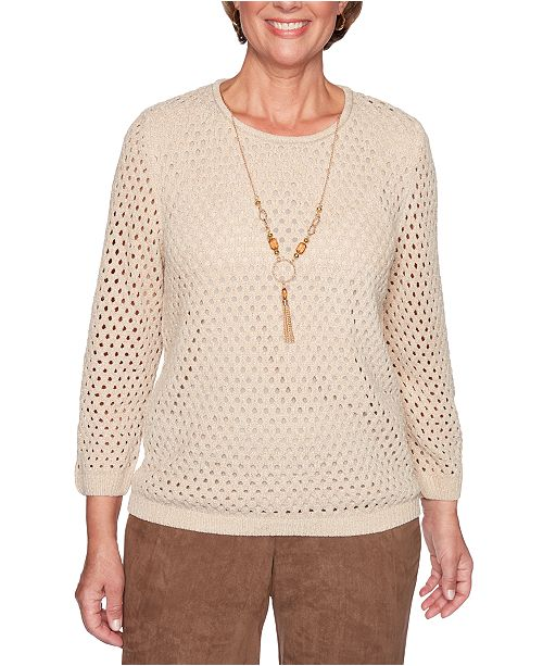 Alfred Dunner Walnut Grove Pointelle Necklace Sweater