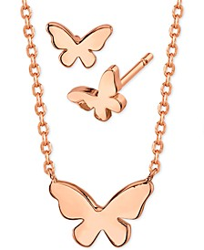 Mini Butterfly Pendant Necklace and Stud Earrings in Rose Gold-Plate, Created for Macy's