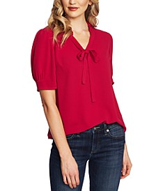 Ruffled V-Neck Tie Top