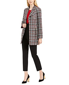 Tweed Topper, Woven Long-Sleeve Top & High-Waist Tuxedo Pants
