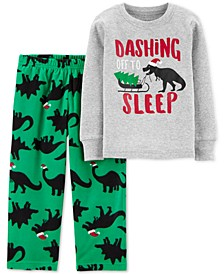 Toddler Boys 2-Pc. Holiday Dino Pajamas Set