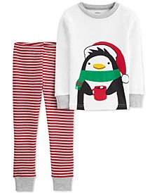 Toddler Boys 2-Pc. Cotton Holiday Penguins Pajamas Set