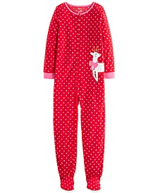 Little & Big Girls 1-Pc. Reindeer Fleece Footie Pajamas
