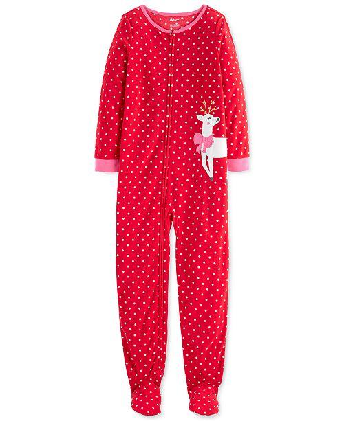 Carter's Little & Big Girls 1-Pc. Reindeer Fleece Footie Pajamas
