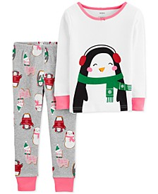Toddler Girls 2-Pc. Snug-Fit Cotton Penguin Pajamas Set