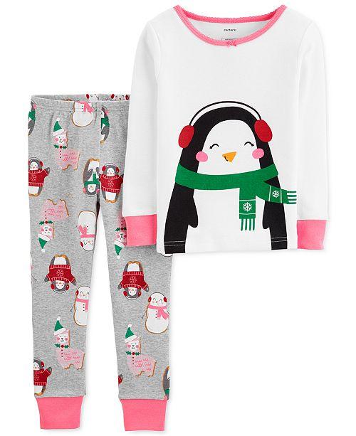 Carter's Toddler Girls 2-Pc. Snug-Fit Cotton Penguin Pajamas Set