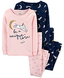 Little & Big Girls 4-Pc. Cotton Snug-Fit Unique-Corn Pajamas Set