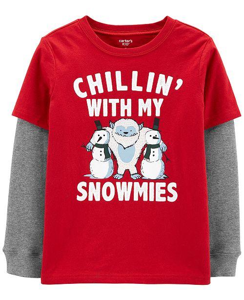 Carter's 9/3 BPW Red Snowmies Tee Xmas Boys LiI & Big