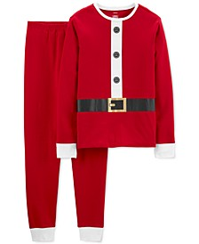 Adult Unisex 2-Pc. Cotton Santa Suit Pajamas Set