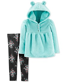 Baby Girls 2-Pc. Faux-Velboa Hoodie & Floral-Print Leggings Set