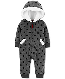 Baby Girls Hooded Faux-Fur-Trim Fleece Coverall