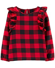 Big & Little Girls Buffalo Check Ruffle Shirt