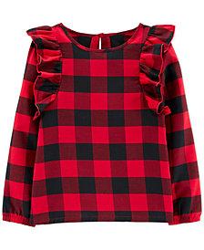 Carter's Big & Little Girls Buffalo Check Ruffle Shirt
