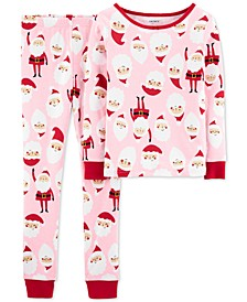 Little & Big Girls 2-Pc. Snug-Fit Cotton Santa Pajamas Set
