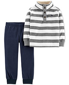 Baby Boys 2-Pc. Stripe Fleece Sweatshirt & Joggers Set