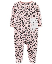 Baby Girls Footed Fleece Leopard-Print Coverall