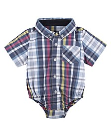 Baby Boy's Madras Short Sleeve Button-Down Shirtzie