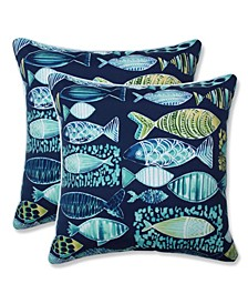 "Hooked 16"" x 16"" Outdoor Decorative Pillow 2-Pack"