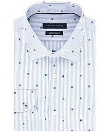 Men's Slim-Fit Performance Stretch Dot-Print Dress Shirt
