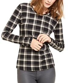 Weekend Max Mara Pacato Plaid Knit Long-Sleeve Top