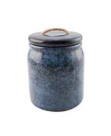 Thirstystone Blue Ceramic Canister with Rope Handle, Medium