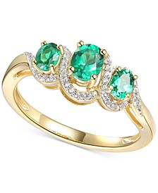Emerald (1/2 ct. t.w.) & Diamond (1/10 ct. t.w.) Ring in 14k Gold-Plated Sterling Silver