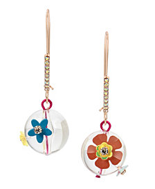 Betsey Johnson Flower Bead Long Drop Earrings
