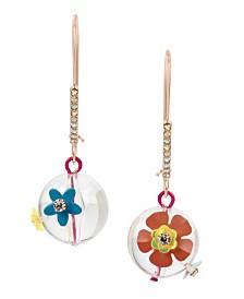 Betsey Johnson Flower Bead Long Drop Earrings