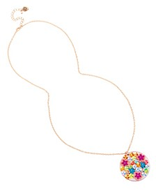 Mixed Flower Disc Pendant Necklace