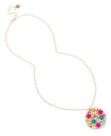 Betsey Johnson Mixed Flower Disc Pendant Necklace