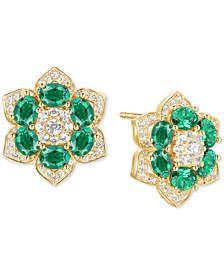 Emerald (1-3/4 ct. t.w.) & Diamond (1/2 ct. t.w.) Flower Stud Earrings in 14k Gold