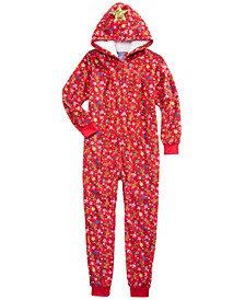 Big Girls 1-Pc. Hooded Holiday-Print Pajamas, Created for Macy's