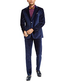 Orange Men's Slim-Fit Blue Velvet Suit Separates