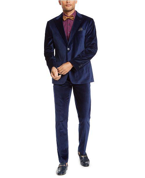 Tallia Orange Men's Slim-Fit Blue Velvet Suit Separates