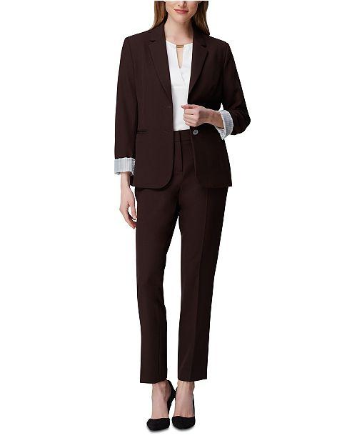 Tahari ASL Petite Two-Button Cuffed Jacket, Crewneck Top & Angled-Pockets Skinny Pants