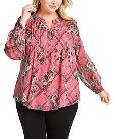 Plus Size Printed Pintuck-Front Top, Created for Macy's