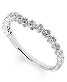 Curved Diamond (1/5 ct. t.w.) Band in 14K White Gold