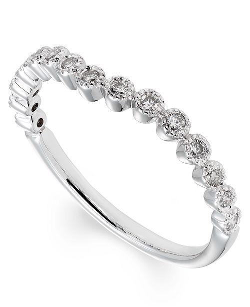 Macy's Certified Diamond (1/5 ct. t.w.) Band in 14K White Gold