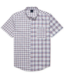 Men's Custom-Fit Adrien Pieced Plaid Magnetic Short Sleeve Button Down Shirt