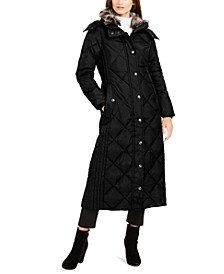 Petite Faux-Fur-Club-Collar Maxi Down Puffer Coat