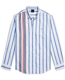 Men's Custom-Fit Gould Stripe Oxford Magnetic Long Sleeve Button Down Shirt