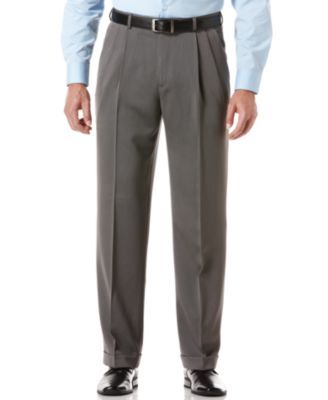 Image of Perry Ellis Portfolio Classic Fit Double Pleat No-Iron Melange Microfiber Dress Pants